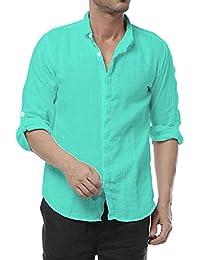 a862265902c1a Najia Symbol Casual 100% Lino Camisa para Hombre Manga Larga Club Collar  Shirt 303