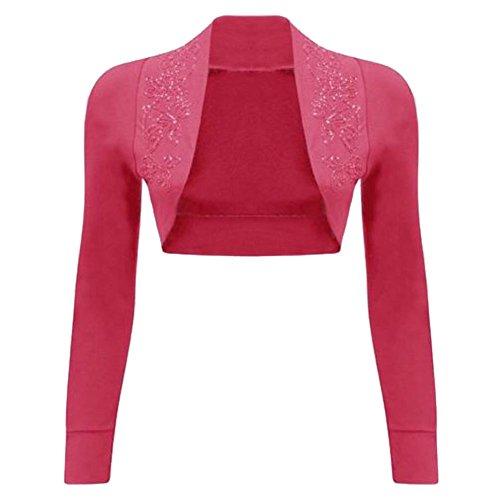 Janisramone donne paillettes 100% cotone a costine top a manica lunga maglia bolero scrollata di spalle Rosso ciliegia