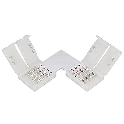 eLander L- Form Schnellverbinder [12 Stück] Für RGB 5050 LED Lichtstreifen Steckverbinder, LED Eckverbinder, LED Strip Connector, 10mm Eckverbinder von eLander