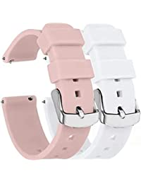 Fengyiyuda 2 Piezas Repuesto de Correa 18MM Watch gt2/gt,Reloj de Correas Garmin Active S,Silicona Reemplazo Correa con/Garmin,Rosa Claro/Blanco