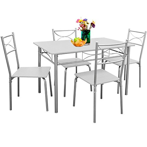 Table and Chairs Dining Set Kitchen 4 Seater White Black Beech Brown Bistro Table Set with 4 Chairs