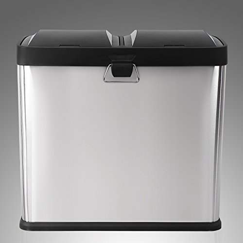 Songmics Large Pedal Bin 48 Litre Recycling Waste Separation System for Kitchen Dustbin Durable Stainless Steel Silver 2 Detachable 24 Litre LTB48L
