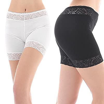 Yulee Women's Sexy Lace Thin Stretch Short Leggings 2 Pack Boxer Briefs