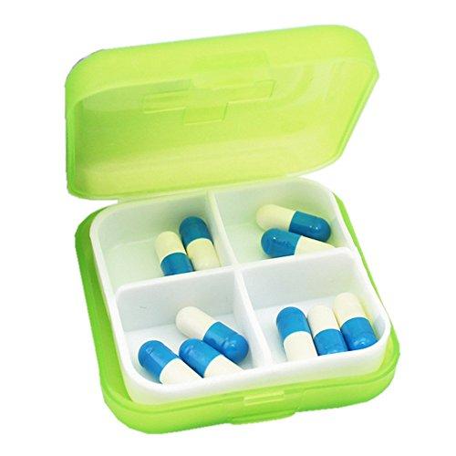 FiedFikt Pillendose mit 4 Fächern, BPA-frei, Medikamentendosierer für Vitamin-Fischöl, Nahrungsergänzungsmittel, grün, M -