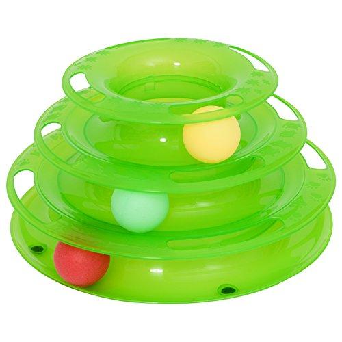 Ball Schiene (PawHut Katzen Spielturm Spielzeug Kugelbahn Kreisel mit 3 Bällen 3 Etagen Grün L25 x B16 x H13cm)