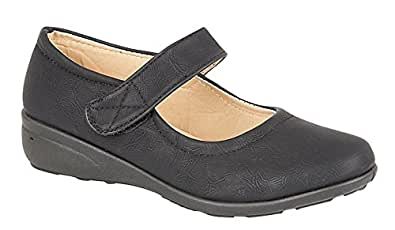 WOMENS LADIES BLACK FAUX LEATHER COMFORT VELCRO BAR SCHOOL WORK OFFICE LOW WEDGE SHOES (Size 8)