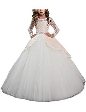 HotGirls Elegante mangas largas encaje flor vestidos primeros vestidos de comunión