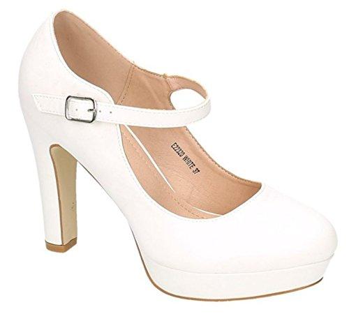 King Of Shoes Klassische Trendige Damen Mary Jane Riemchen Pumps Stilettos Party High Heels Plateau Schuhe Bequem 20 (37, Weiß)