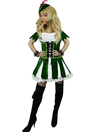 Marion Erwachsene Maid Kostüm Für - Yummy Bee - Deluxe Robin Hood Peter Pan Karneval Fasching Kostüm Damen Größe 34-46 (42-44)