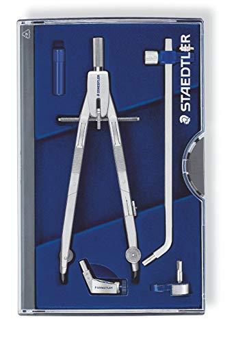 Staedtler Mars Professional 555 03 Zirkel, Zirkel mit Schnellverstellung, Set mit Verlängerungsstange und Universaladapter, mit Drucktasten und Spindelführung, exakt und präzise, Made in Germany