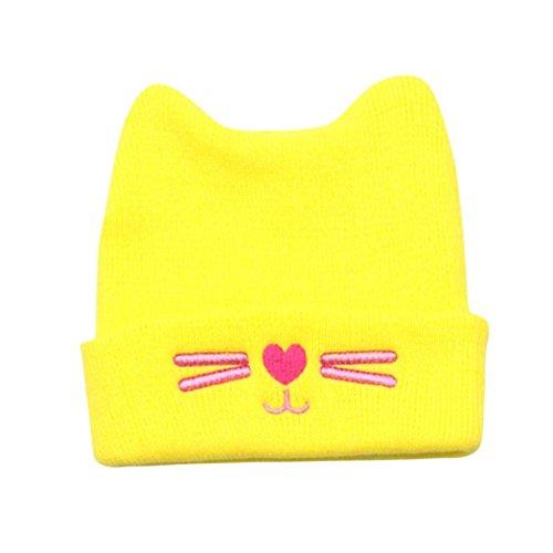 der Mädchen Jungen Baby Karikatur Kätzchen Warm Häkeln Strickmütze Mütze Kappe Hut Super Süß Wintermütze Stricken Hüte Beanie Kindermützen Baumwollmütze (Gelb) ()