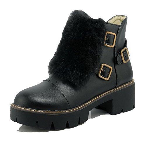 AgooLar Damen Mittler Absatz Rein Rund Zehe Weiches Material Reißverschluss Stiefel, Weiß, 34