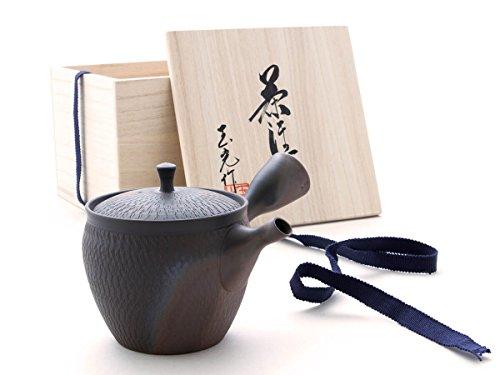 Gyokko - Japanische Tee-Kanne Tokoname SENDAN KAKU mit Geschenk-Box. Rot, Handmade auf der Töpfer-Scheibe. Unglasiert, integriertes Keramik-Sieb