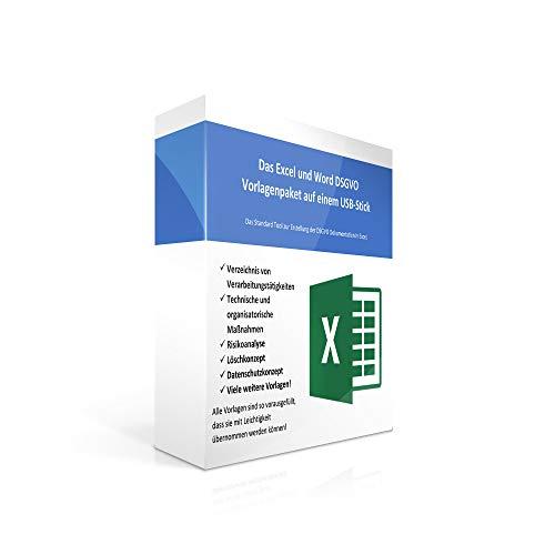 Excel und Word Vorlagensammlung zur DSGVO in 2018 auf USB-Stick - Verzeichnis von Verarbeitungstätigkeiten, TOM und Risikoanalyse