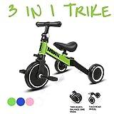 KORIMEFA 3 in 1 Triciclo per Bambini Bicicletta Equilibrio Adatto per età 1-3 Anni Certificazione CE (Verde + Grigio)