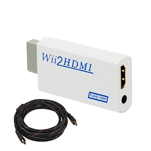 Dupelec Wii-zu-HDMI-Konverter für Nintendo mit 2 m High-Speed-HDMI-Kabel, Wii-U-Adapter, Video-Audio mit 3,5 mm Klinkenstecker, kompatibel mit Full HD-Gerät, unterstützt alle Wii-Display-Modi (Wii U-adapter-kabel)