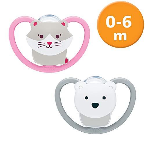 Chupete espacial de Nuk,  silicona,  forma adaptada a la mandíbula,  0 -  6 meses,  gato y oso polar