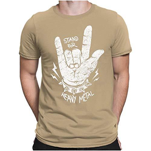 PAPAYANA - Stand for Heavy Metal - Herren Fun T-Shirt Bedruckt Music Band Punk Rock - Medium - Khaki