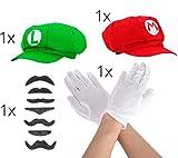 Set Mario Super Zubehör Accessoire mit Handschuhe in weiß, 6x Schnurrbart Bart Luigi und Mütze Cap Schildmütze rot und grün für Fasching Fasching Karneval zum Verkleiden für Herren und Damen