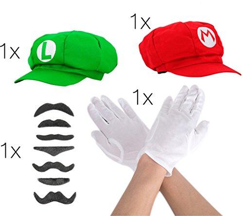 hör Accessoire mit Handschuhe in weiß, 6x Schnurrbart Bart Luigi und Mütze Cap Schildmütze rot und grün für Fasching Fasching Karneval zum Verkleiden für Herren und Damen (Bart Und Schnurrbart Kostüm)