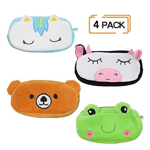 Schneiden Sie Tierform Federmäppchen für Kind, Einhorn Make-up Werkzeugtasche Kosmetik Aufbewahrungstasche, 3D Stift Tasche für Studenten (4er Set) -