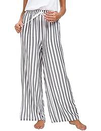 EEVASS Mujer Pantalones de Salón de Pierna Ancha Casual con Cordón ... f606b2aa3126