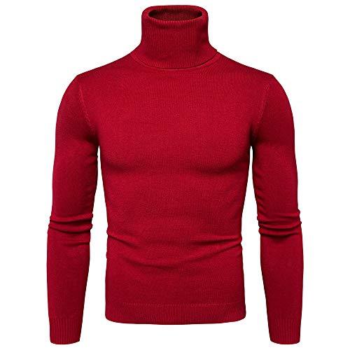 UJUNAOR Herren Rollkragenpullover mit Rollkragen Einfarbig Strickpullover Pullover Männer Herbst Winter Sweatshirt(Rot,EU M/CN L)