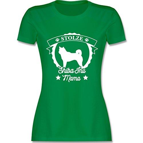 Shirtracer Hunde - Stolze Shiba Inu Mama - Damen T-Shirt Rundhals Grün
