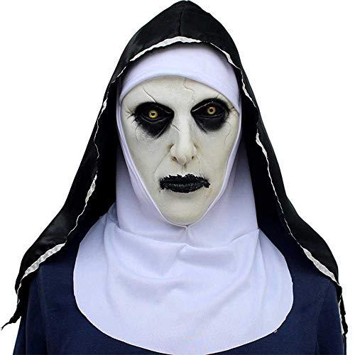AOLVO Halloween Kopf Maske - Horror Ghost Nonne Maske Halloween Weihnachten Latex Maske Kostüm Maskerade Party Requisiten Maske Cosplay Maske