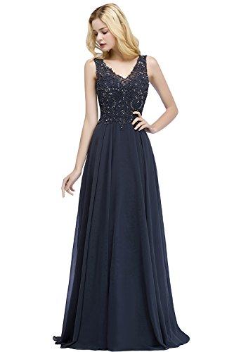 MisShow Damen elegant Ärmellos A Linie Abiballkleider Lang Ballkleider Prinzessin Abendkleid...
