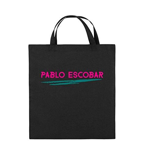 Borse Comedy - Pablo Escobar - Narcos - Borsa In Juta - Manico Corto - 38x42cm - Colore: Nero / Bianco-neon Verde Nero / Rosa-turchese