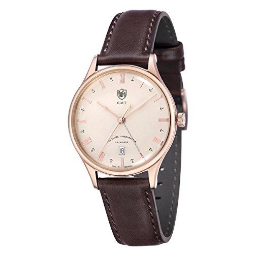 DuFa Unisex Analog Quarz Uhr mit Leder Armband DF-9006-07