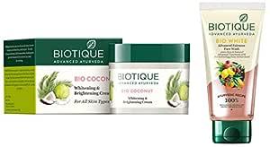 Biotique Bio Coconut Whitening And Brightening Cream, 50g And Biotique Bio White Advanced Fairness Face Wash, 150ml