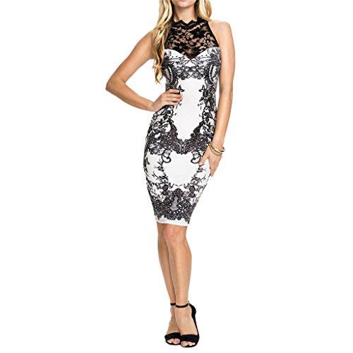 Waooh - Gedruckt Barocken Kleid Stum Weiß-Schwarz