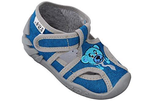 ARS Babyschuhe Jungen Lauflernschuhe Kleinkind Neugeborene Sport Hausschuhe mit Leder Einlegesohlen bis 1-3 Jahre Gr. 20 bis 26 (21 EU, Blau - Teddybär)
