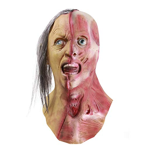 Horror Half Face Man Maske, Halloween Neuheit Scary Männer Links Hälfte der Gesichtsmaske, Kostüm Party Latex Zombie Maske Vollmaske für Party Karneval