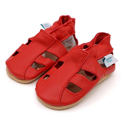 Bimbo Bimba morbido pelle sandalo scarpe scamosciato - Navy - Dotty Fish - ragazzo ragazza Rosso