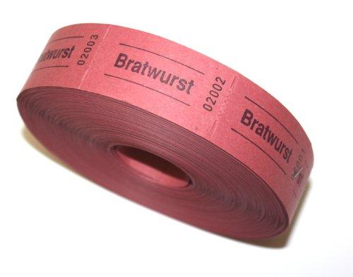 Bonrolle BRATWURST rot - 1000 perforierte Abrisse