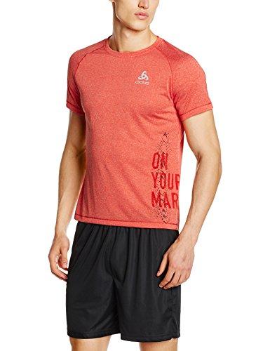 Odlo, T-Shirt Uomo, Manica Corta, modello Raptor Rosso (Cherry Tomato Melange)