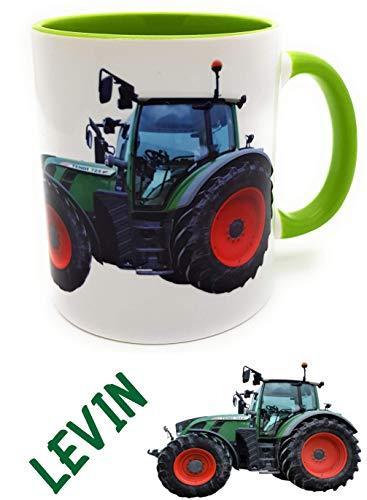 Traktortasse mit Wunschname, Namenstasse Trecker Henkelbecher für kleine & große Landwirte grün