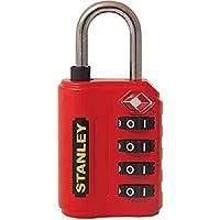 Stanley 81151393401 Candado de combinación de 4 dígitos con indicador de Seguridad, Rojo, 30 mm
