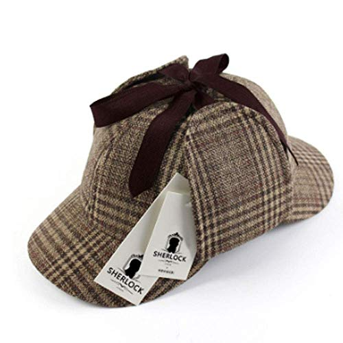 Jagd Hirsch Hut Sherlock Holmes Hüte für Männer und Frauen Detektiv Volume Fu Sherlock (Color : Houndstooth, Size : L)