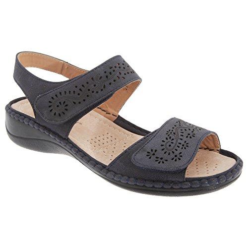 Boulevard Damen Sandale mit Klettverschluss Steinfarben
