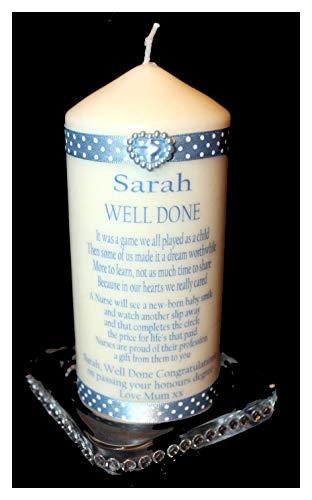 Cellini Candles Personalisierte Glückwunschkarte mit Gedicht für den Abschluss der Krankenschwester, Geschenk mit eigener Nachricht