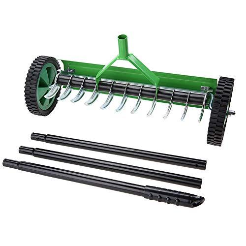 GOTOTOP Praktischer Rasenbelüfter, Grün Rechen aus verzinktem Stahl und PP, Verleihen Sie dem Rasen Vitalität, Handvertikutierer mit 44 cm Arbeitsbreite