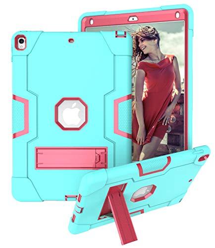 Yoomer Schutzhülle für iPad Air 3 (26,7 cm / 10,5-Zoll-2019), dreilagig, robust, stoßfest, robust, aus Silikon und hartem Polycarbonat, stoßfest, Aqua+Rose