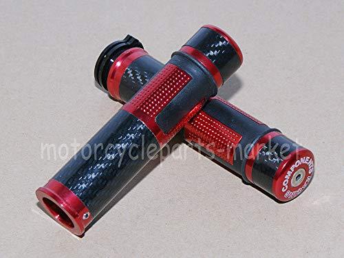 FidgetGear Poignées de Guidon en Fibre de Carbone pour ZX10R ZX7R ZX9R ZX12R Rouge 2,2 cm