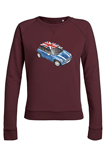 ul14 Sweat pour femmes Trips Mini Cooper with Great Britain Flag Burgundy