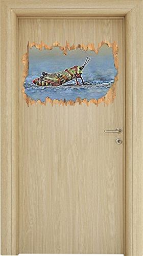 außergewöhnliche Heuschrecke Holzdurchbruch im 3D-Look , Wand- oder Türaufkleber Format: 62x42cm, Wandsticker, Wandtattoo, Wanddekoration (Heuschrecken Stein)