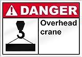Overhead Crane peligro señal de 14cm de ancho x 10cm de alto